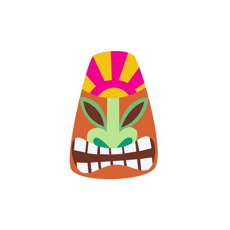 Cartoon Tiki mask with smiling face - colorful flat icon isolated on white 向量圖像