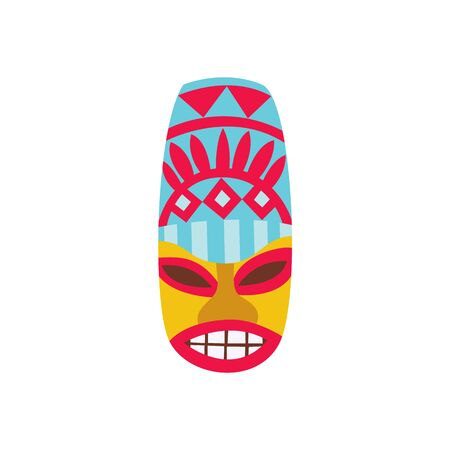 Long oval cartoon Tiki mask with tribal ornaments - flat icon isolated on white 向量圖像