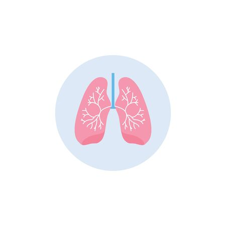Human body respiratory system organ a lungs single icon in blue circle