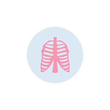 Human rib cage medical icon in circle flat vector illustration isolated on white background. Anatomical sign of body skeleton for pharmacy and healthcare products.