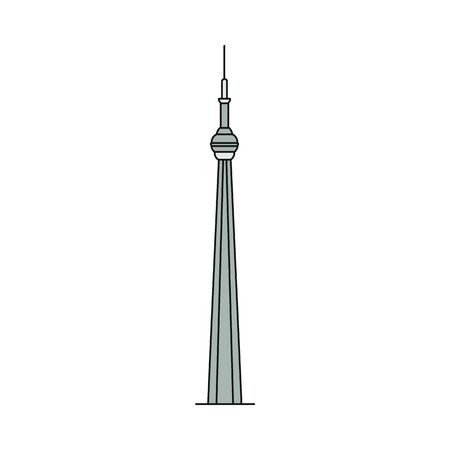 Toronto famous CN Tower silhouette or icon, vector illustration in sketch style isolated on white background. Canadian tourist landmarks and sights symbol.