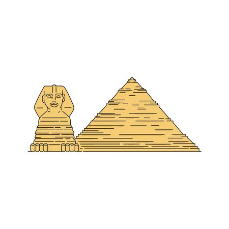Egyptian pyramid and sphinx - famous landmarks, vector illustration in sketch style isolated on white background. Symbols of Egypt culture for travel and tourism design.