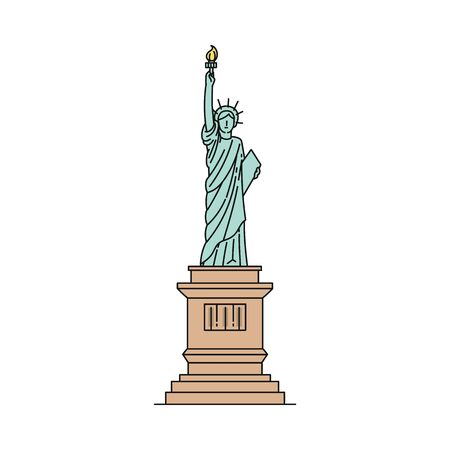 Statue of Liberty icon - famous USA landmark isolated on white background. Freedom symbol and tourist attraction of United States - flat vector illustration.