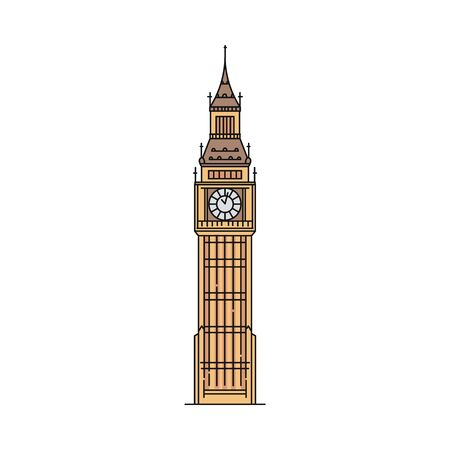 Flat Big Ben icon isolated on white background - famous London and Great Britain landmark with brown clock tower. British tourist attraction - vector illustration.