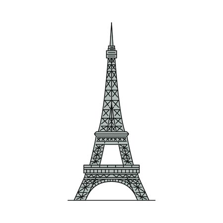 Grey Eiffel Tower icon isolated on white background - famous landmark from Paris, France. Historic French tourist attraction - flat vector illustration.