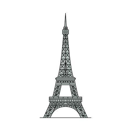 Szara ikona wieży Eiffla na białym tle - słynny punkt orientacyjny z Paryża, Francja. Historyczna francuska atrakcja turystyczna - ilustracja wektorowa płaskie.