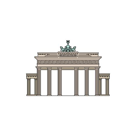 Brandenburg Gate in Germany a world famous tourist landmark, sketch vector illustration isolated on white background. Traveling and tourism, european trip symbol.