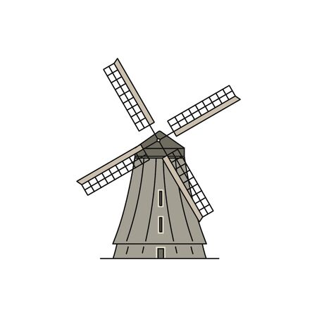 Flat wind mill icon isolated on white background - traditional wheat farm building with big propeller. Simple windmill tower - vector illustration. 向量圖像