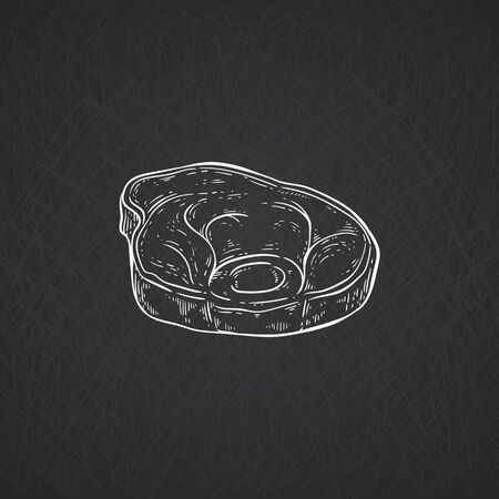Pork or beef meat piece icon chalk drawing on blackboard, cartoon vector illustration isolated on black background. Farm eco meat production symbol or butcher scheme part.