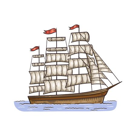 Vintage sailboat or ancient sea ship sketch cartoon vector illustration isolated on white background. Historical frigate with sails beautiful icon or symbol.