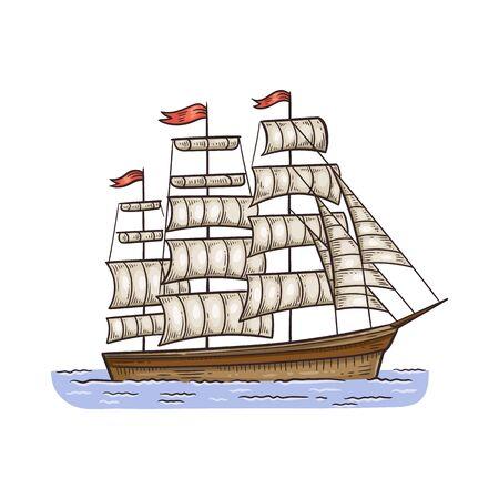 Voilier vintage ou illustration de vecteur de dessin animé de croquis de navire de mer antique isolé sur fond blanc. Frégate historique avec voiles belle icône ou symbole. Vecteurs