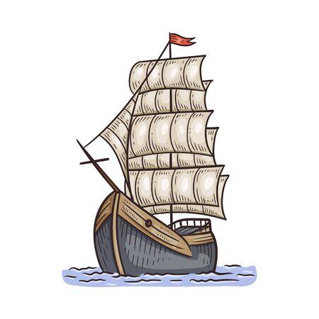 Ancien beau navire ou bateau avec voiles, illustration vectorielle dans le style de croquis isolé sur fond blanc. Découvrir et voyager un symbole ou un élément de design.