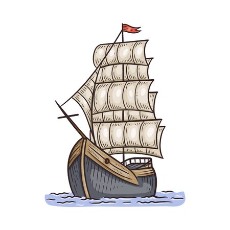 Ancient beautiful ship or boat with sails, vector illustration in sketch style isolated on white background. Discovering and traveling symbol or design element. Illustration