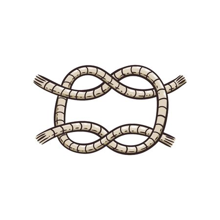 Sea knot from marine cord design element, cartoon vector illustration in sketch style isolated on white background. Sea ship tackle symbol for nautical and marine topic.