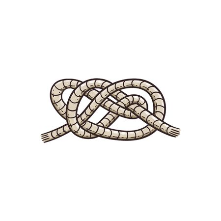Nautical bowline knot drawing isolated on white background - grey sailor rope tied into strong Stedevore type layered loops. Flat vector illustration. Ilustração