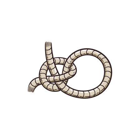 Nautical rope knot a marine design element, cartoon vector illustration in sketch style isolated on white background. Sea ship tackle equipment cord or string sign.