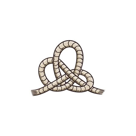 Sea nautical knot from ship tackle rope or sail cord, sketch vector illustration isolated on white background. Marine cable node travel design classic element.