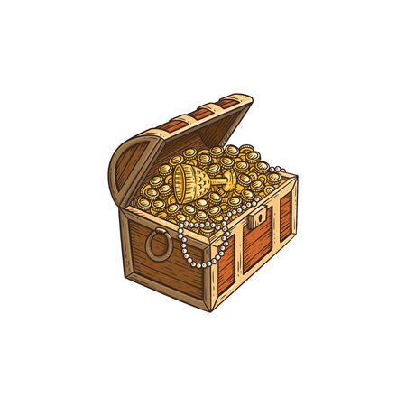 고대 금화와 상품으로 가득한 나무 보물 상자, 흰색 배경에 격리된 만화 손으로 그린 벡터 삽화. 스케치 스타일의 해적 보물 아이콘입니다.