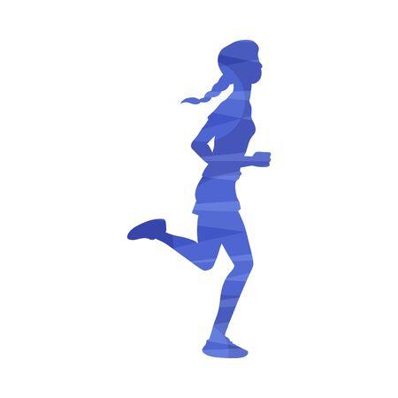 Jonge vrouw marathon lopen of joggen in de ochtend, vectorillustratie in abstracte effect geïsoleerd op een witte achtergrond. Sport en gezonde actieve levensstijl kleurrijke icoon. Vector Illustratie