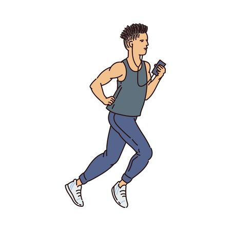 Male cartoon runner running with headphones and holding phone - young athlete jogging in sport clothes while listening to music. Flat isolated vector illustration. Illustration