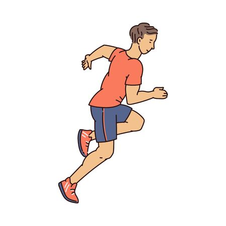 Young runner athlete in sport clothes running isolated on white background - healthy cartoon man jogging seen from side view. Flat vector illustration.  イラスト・ベクター素材