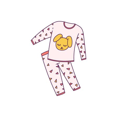 Fashion comfort pink pajamas icon, cartoon vector illustration in sketch style isolated on white background. Night sleeping clothing element for sleepover party design.