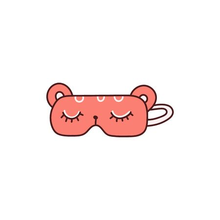 Cute pink sleeping mask icon with drawn closed eyes, sketch cartoon vector illustration isolated on white background. Night accessories for comfortable sleeping.
