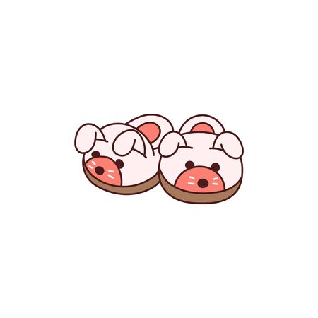 Cute cozy animal slippers icon isolated on white background - pink pair of soft and warm home shoes in puppy dog face shapes. Flat vector illustration Illustration