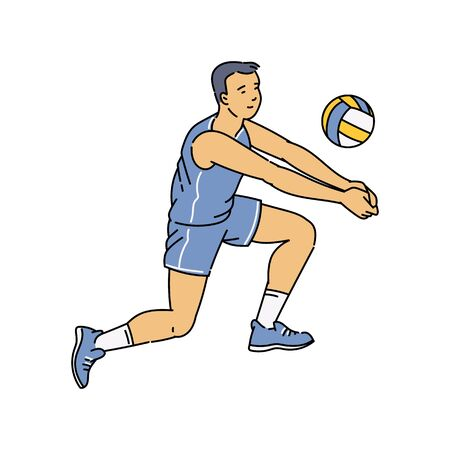 Cartoon man doing bump pass in volleyball - male athlete receiving and hitting a ball with forearms. Flat isolated vector illustration on white background. Illustration