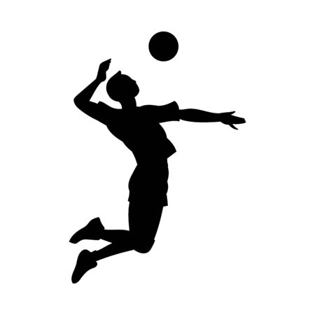 Volleyball player hitting ball in jump motion black silhouette, vector illustration isolated on white background. Sport team male athlete or sportsman contour.