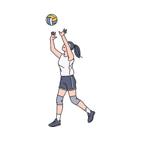 Ilustración de vector de personaje de dibujos animados de jugador de voleibol de mujeres en estilo boceto aislado sobre fondo blanco. Atleta de juego de deporte de voleibol de playa de mujeres o deportista.