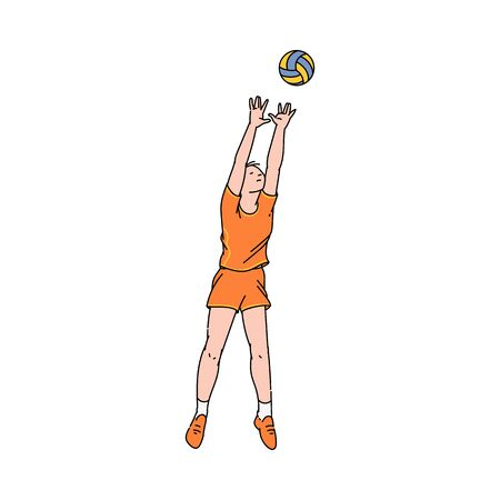 Volleyball player woman character in motion - vector illustration in sketch style isolated on white background. Women beach volleyball or basketball team sportswoman. Ilustrace