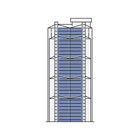 Hong Kong and Shanghai bank building icon isolated on white background - flat blue line art icon of famous Hongkong city landmark - vector illustration