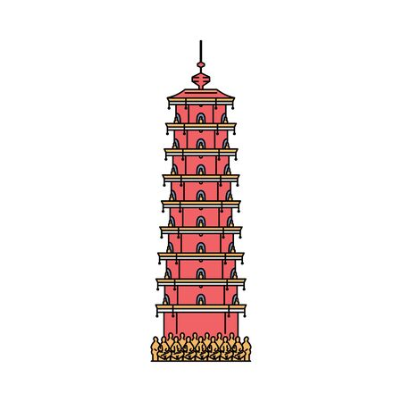 Hong Kong red tower icon - landmark Asian architecture building of buddhist monastery with famous ten thousand Buddha statues. Flat isolated vector illustration.