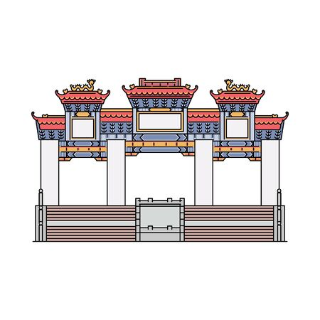 Famous Hong Kong temple - flat icon of ancient shrine and tourist attraction isolated on white background. Oriental landmark architecture - vector illustration.