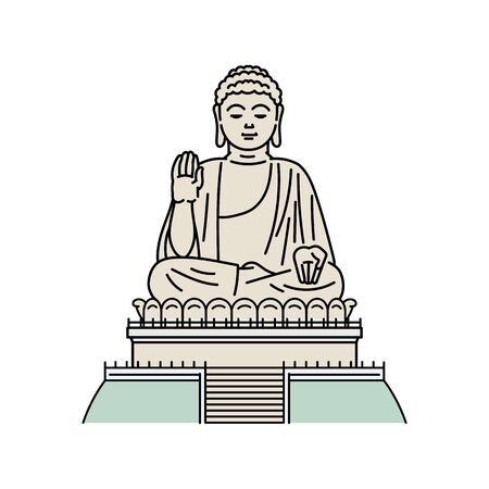 Hong Kong famous tourist landmark - Buddha monument vector illustration in sketch style isolated on white background. Asian place of interests for travelers and tourists.