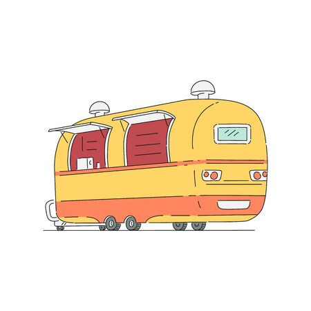 Trade truck for fast food mobile cafe, vector illustration in sketch cartoon style isolated on white background. Street food festivals vehicle for selling meals.