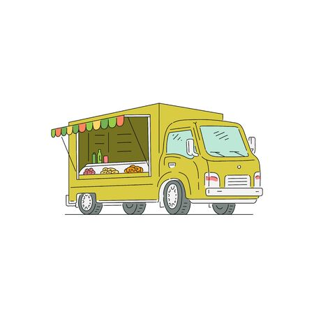 Vending trade truck for street food selling, vector illustration in sketch cartoon style isolated on white background. Food festival, markets and fairs van symbol.