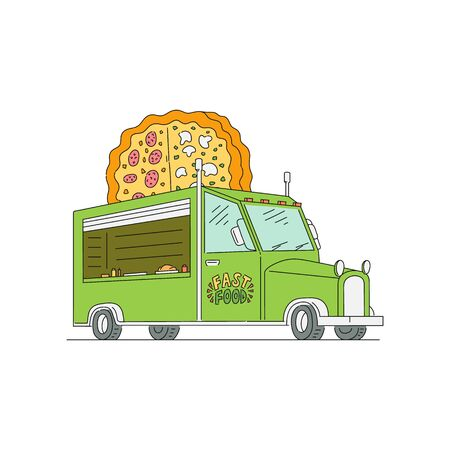 Green food truck with giant pizza logo sign isolated on white background. Cartoon drawing of empty van with street fast food - flat vector illustration.