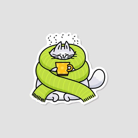 Cute cartoon cat wrapped with big green scarf drinking hot beverage to warm up. Isolated flat sticker of fat grey animal with a cold - vector illustration.  イラスト・ベクター素材