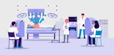 Robotic surgery banner with futuristic hospital room interior and doctors looking at robot arm performing surgical operation on patient.