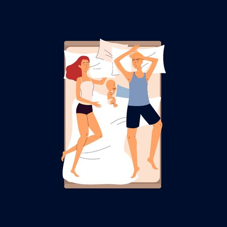 Couple sleeping in one bed with a baby - cartoon family in different sleep positions isolated on dark
