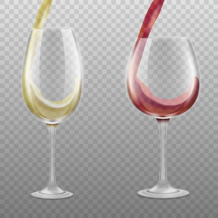 Set of wine glasses filling with alcoholic liquid in red and white colors, realistic vector illustration mockup isolated on transparent background. Beverages glassware.