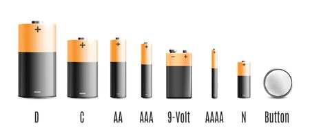 Realistic battery set with different energy capacity and size isolated on white