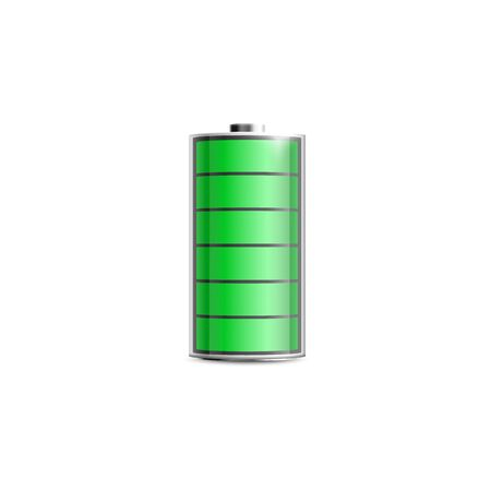 Round charged battery mockup with green power indicator, realistic vector illustration isolated on white background. Electric accumulator for electronic devices template.
