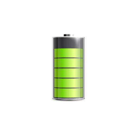 Full charged alkaline battery icon with green energy level indicator, realistic vector illustration isolated on white background. Electrical accumulator for gadgets.