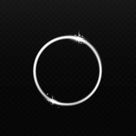 Glimpse of white energy or glowing light in circle shape realistic vector illustration isolated on black background. Sparkling lighting effect element.