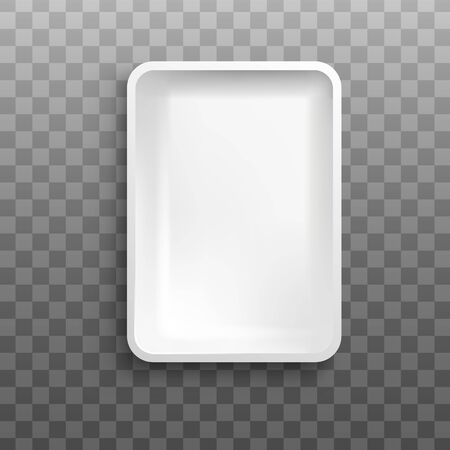 White rectangle foam tray from top view isolated on transparent Vectores