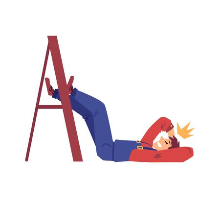 Work accident - cartoon man fallen from ladder and badly hurt. Construction worker in uniform without helmet lying on the floor - flat isolated vector illustration. Иллюстрация