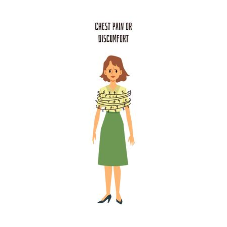 Chest pain or discomfort - cartoon woman with barbed wire wrapped around her body. Heart disease or panic attack symptom - flat isolated vector illustration.